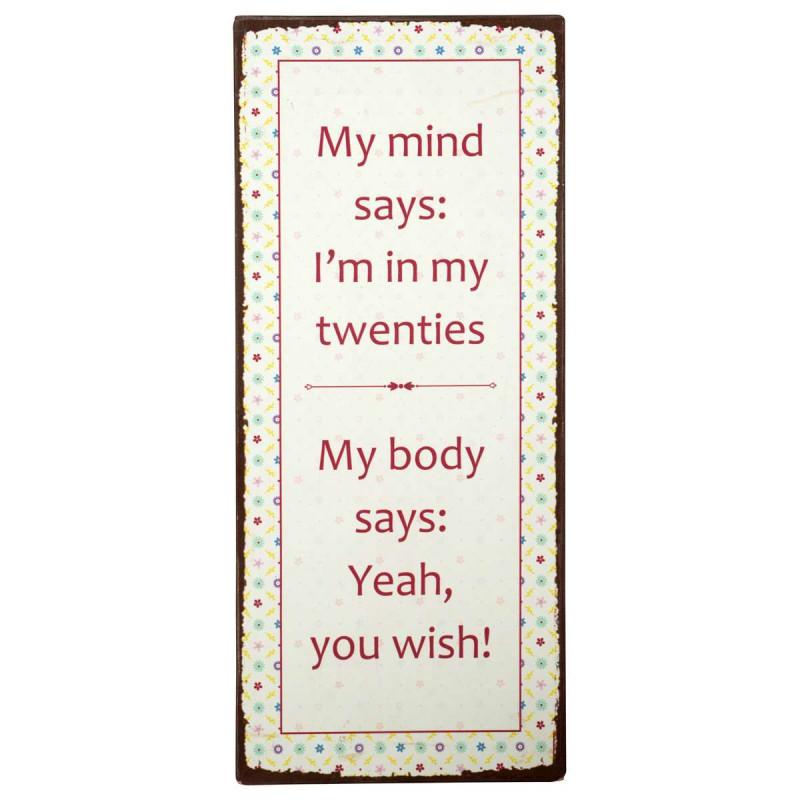 IB Laursen Metallschild my mind says i am in my twenties