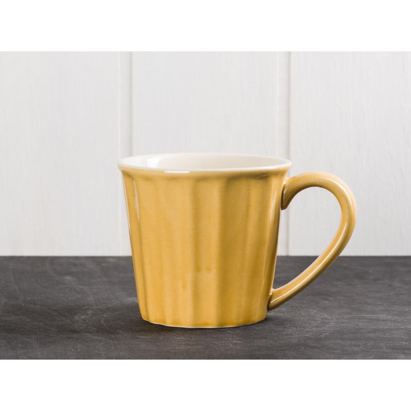 IB Laursen Mynte Becher mit Henkel Tasse Gelb Senfgelb Keramik Geschirr Serie Mustard 250 ml