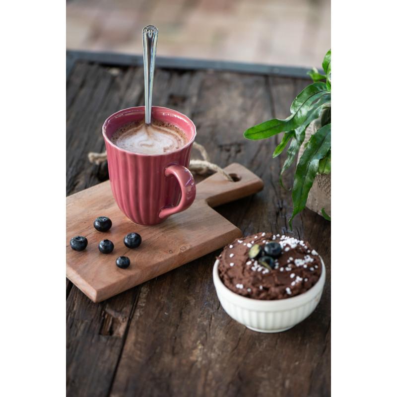 IB Laursen Mynte Becher mit Rillen Brombeere Keramik Geschirr Blackberry Parfait Tasse mit Henkel Kakao und Kuchen