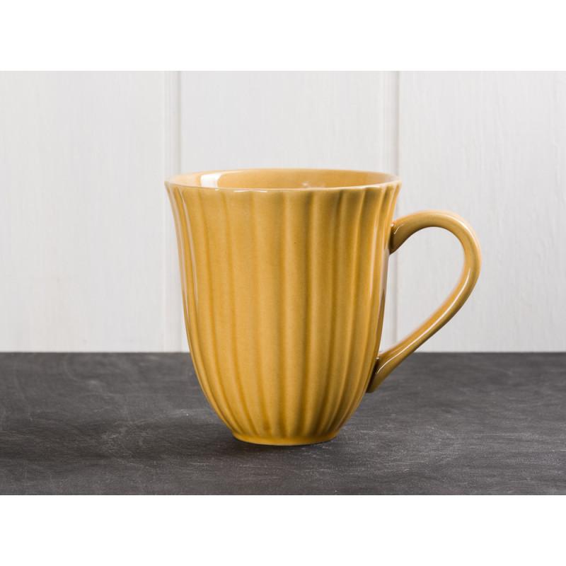 IB Laursen Mynte Becher mit Rillen Gelb Senfgelb Keramik Geschirr Serie Mustard 250 ml