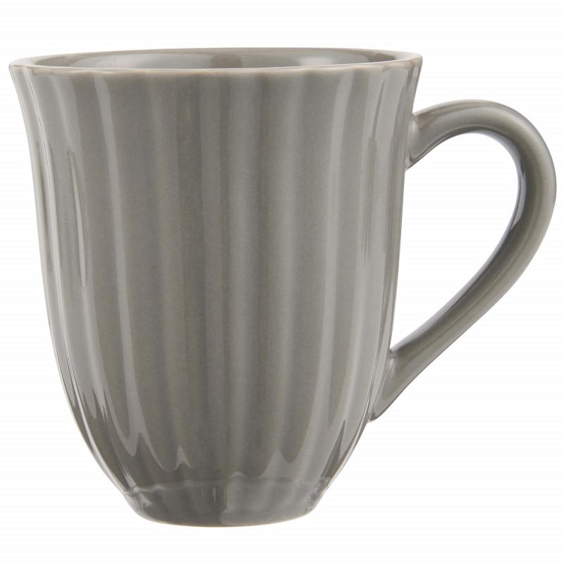 IB Laursen Mynte Becher mit Rillen Granite Grau Keramik Geschirr 250 ml Tasse mit Henkel