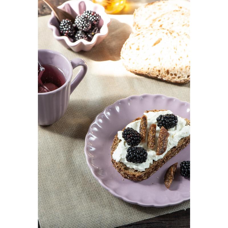 IB Laursen Mynte Becher mit Rillen Lavender Lila Keramik Geschirr mit Teller und Muffinschale
