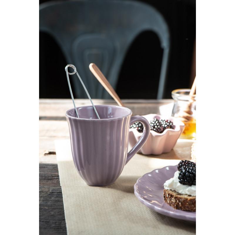 IB Laursen Mynte Becher mit Rillen Lavender Lila Keramik Geschirr Tasse mit Henkel für Tee mit Frühstück