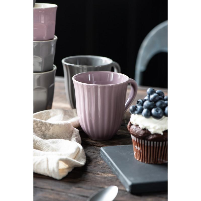 IB Laursen Mynte Becher mit Rillen Lavender Lila Keramik Geschirr Tasse mit Henkel zusammen mit Granite Grau