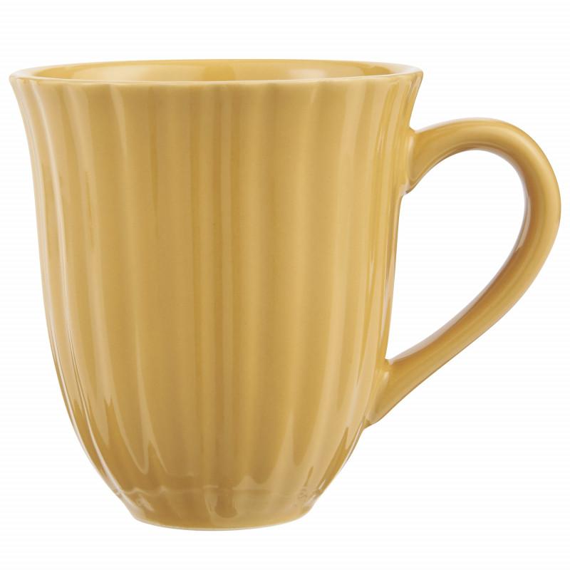 IB Laursen Mynte Becher mit Rillen Mustard Gelb Keramik Geschirr 250 ml Tasse mit Henkel