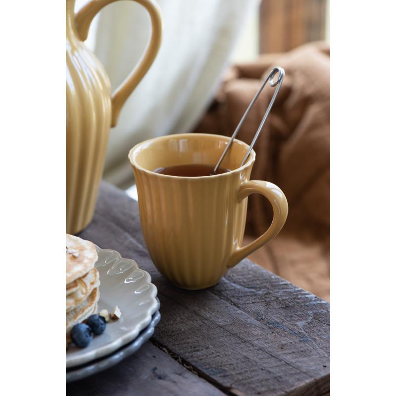 IB Laursen Mynte Becher mit Rillen Mustard Gelb Tasse mit Henkel und Tee