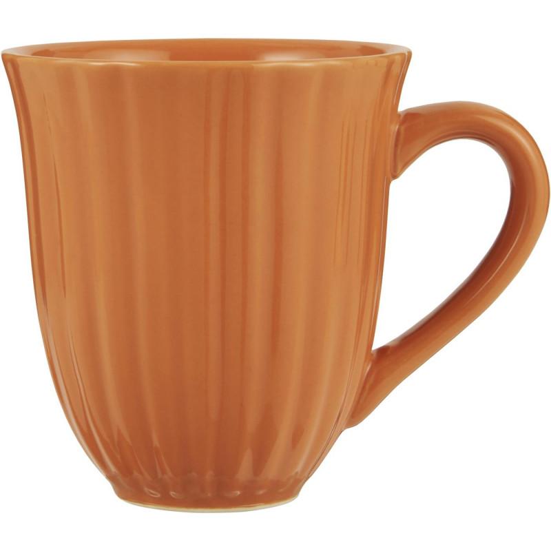 IB Laursen Mynte Becher mit Rillen Orange Keramik Geschirr Pumpkin Spice Tasse mit Henkel 250 ml