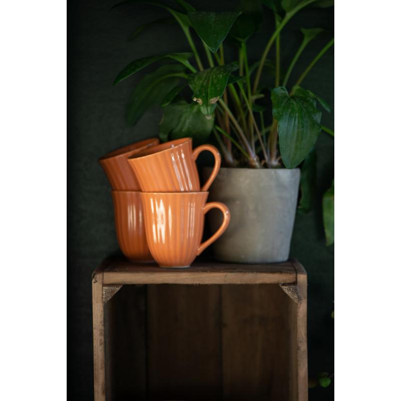 IB Laursen Mynte Becher mit Rillen Orange Keramik Geschirr Pumpkin Spice Tasse mit Henkel Apfelkiste Topfpflanze