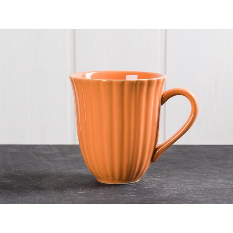 IB Laursen Mynte Becher mit Rillen Orange Keramik Geschirr Serie Pumpkin Spice 250 ml