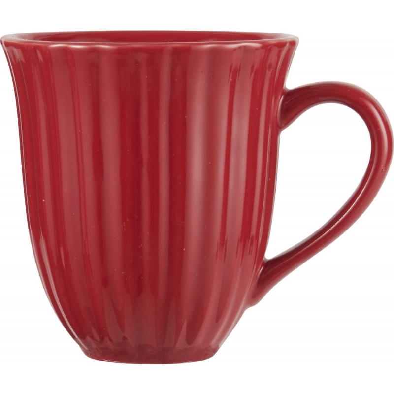 IB Laursen Mynte Becher mit Rillen rot Tasse aus Keramik Strawberry