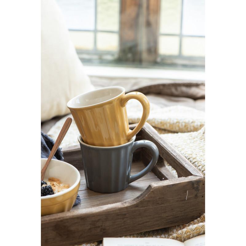 IB Laursen Mynte Becher Mustard Gelb Keramik Tasse mit Grauer Tasse und Müslischale