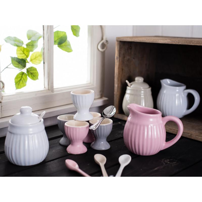 IB Laursen Mynte Eierbecher Löffel Sahnekännchen Zuckertopf rosa weiß grau beige