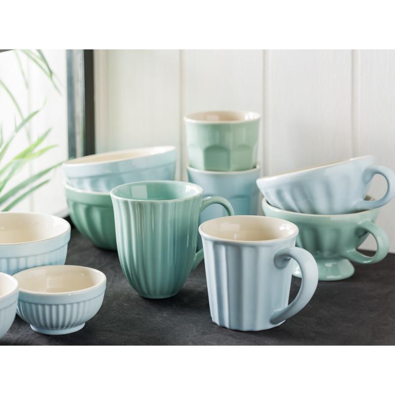 IB Laursen Mynte Geschirr Becher mit Rillen Tasse Jumbo Cafe Latte Müslischalen und Schalensatz Mini aus Keramik in Stillwater Blau Green Tea Grün