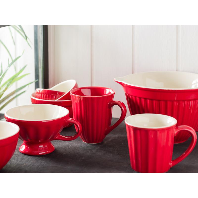 IB Laursen Mynte Geschirr Becher mit Rillen Tasse Jumbo Müslischale Schalensatz Mini und Rührschüssel aus Keramik Strawberry Rot