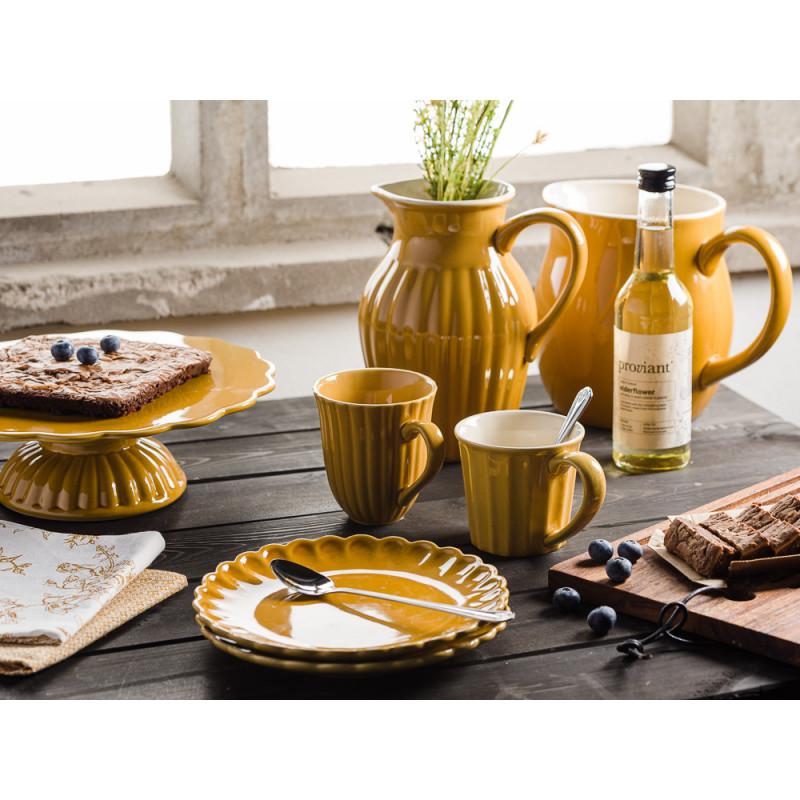 IB Laursen Mynte Geschirr Gelb Senfgelb Mustard Becher Kuchenteller Krug Sirup Vase und Tortenplatte Geschirrtuch