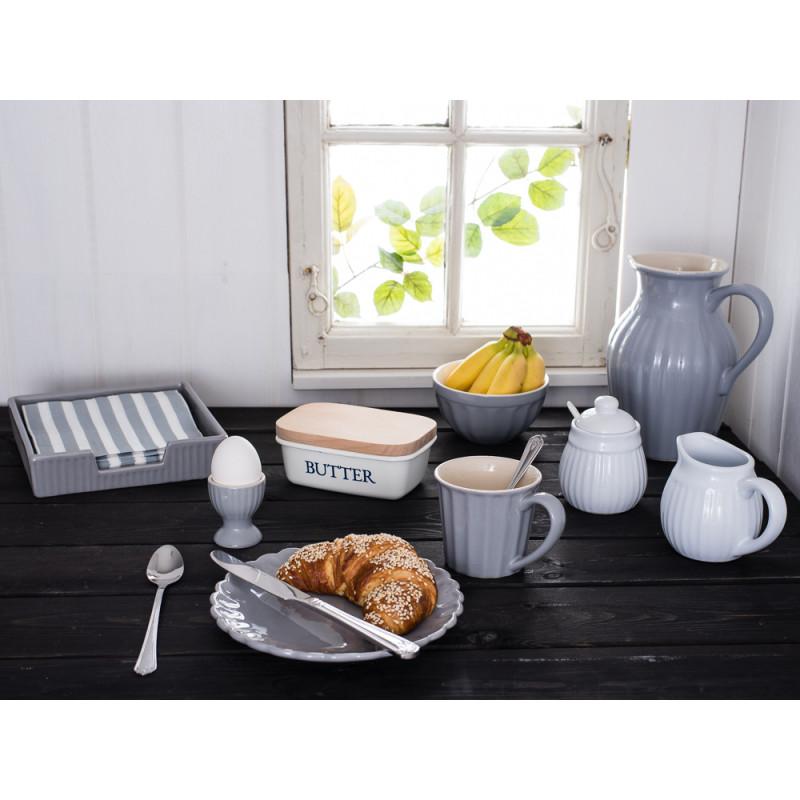 IB Laursen Mynte Geschirr grau und weiß Becher Teller Kanne Müslischale Eierbecher Besteck Milch und Zucker Serviettenständer French Grey