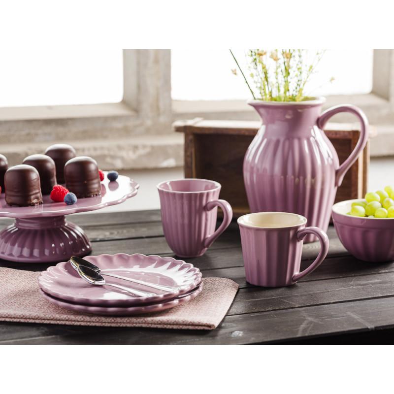 IB Laursen Mynte Geschirr Kuchen Frühstück Tisch Lavendel Lila Lavender Teller Becher Krug Müslischale und Tortenplatte