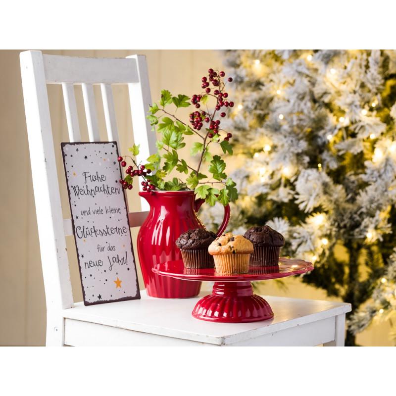 IB Laursen Mynte Geschirr rot Weihnachtsdeko Tortenplatte Kanne 1,7 Liter und Schild Frohe Weihnachten Glückssterne
