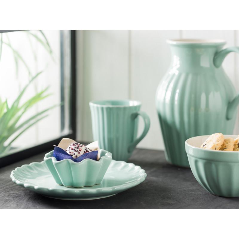 IB Laursen Mynte Geschirr Teller Kuchenteller mit Muffinform Becher mit Rillen Müslischale und Kanne 1,7 l aus Keramik Green Tea Grün