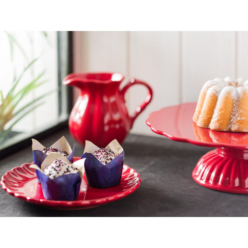 IB Laursen Mynte Geschirr Teller Kuchenteller mit Tortenplatte und Kanne 0,45 ml aus Keramik Strawberry Rot