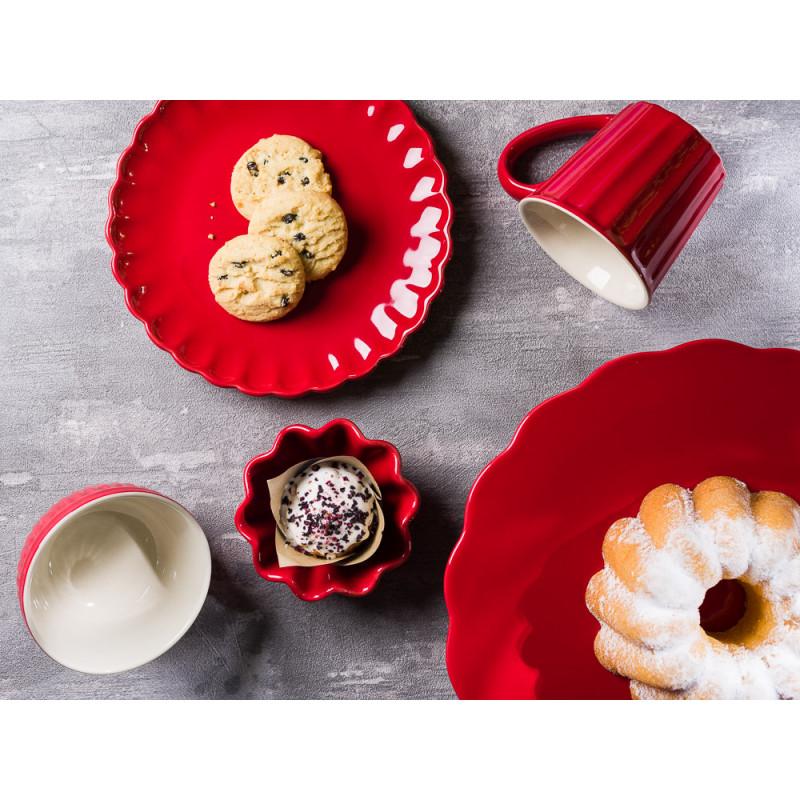IB Laursen Mynte Geschirr Teller Kuchenteller Tasse Muffinform Schalenset und Tortenplatte aus Keramik Strawberry Rot
