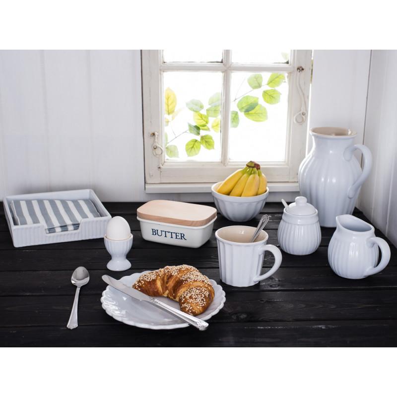IB Laursen Mynte Geschirr weiß Becher Teller Kanne Müslischale Eierbecher Besteck Milch und Zucker Serviettenständer Pure White