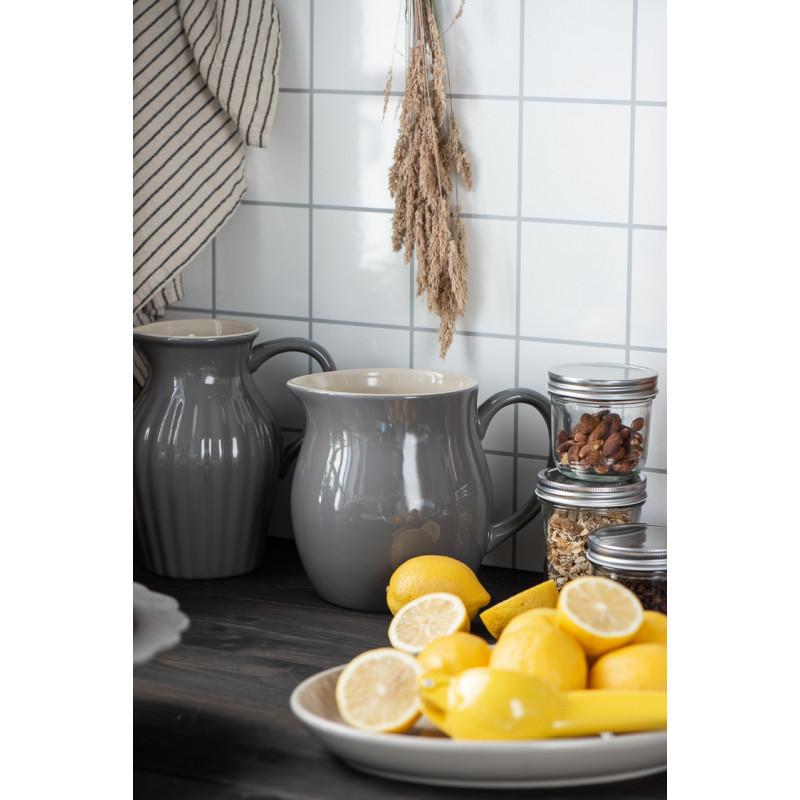 IB Laursen Mynte Kanne Granite Grau Keramik Geschirr Krug klein und groß mi Zitronen Teller