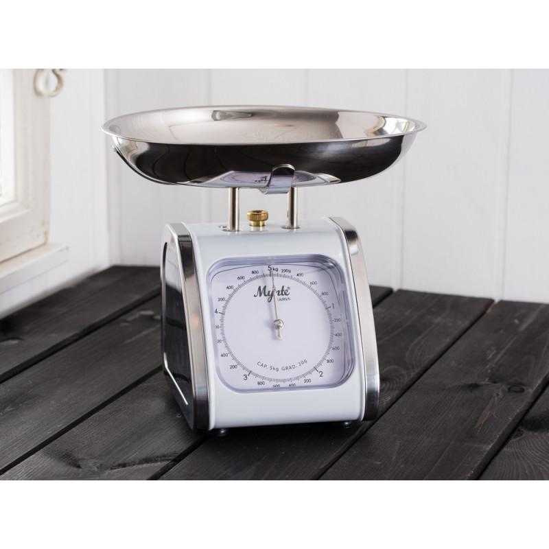 IB Laursen Mynte Küchenwaage weiß Edelstahl mit abnehmbarer Waagschale bis 5 Kg