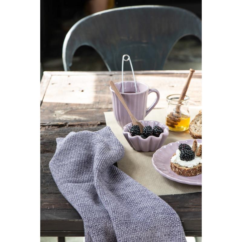 IB Laursen Mynte Muffinschale Lavender Lila Keramik Geschirr mit Frucht Becher mit Rillen und Teller Frühstück