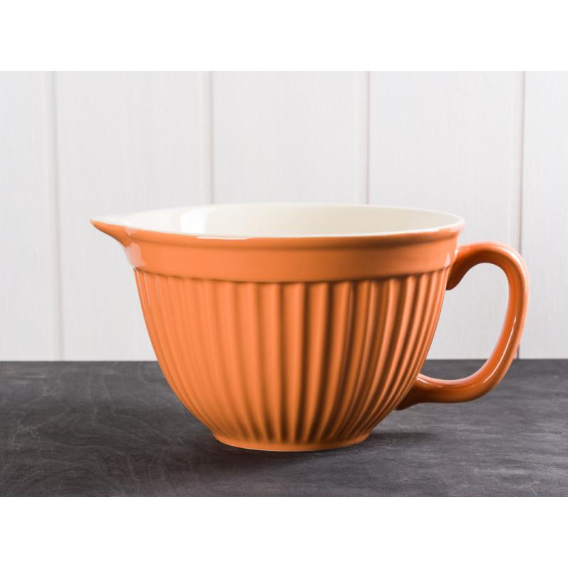 IB Laursen Mynte Rührschüssel Orange mit Henkel und Ausgiesser Keramik Geschirr Serie Pumpkin Spice