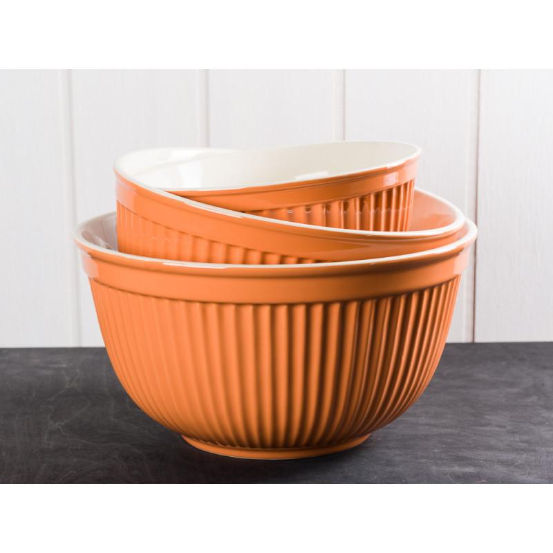 IB Laursen Mynte Schalen Satz Orange 3 tlg groß Keramik Geschirr Serie Pumpkin Spice 3 Schüsseln im Set