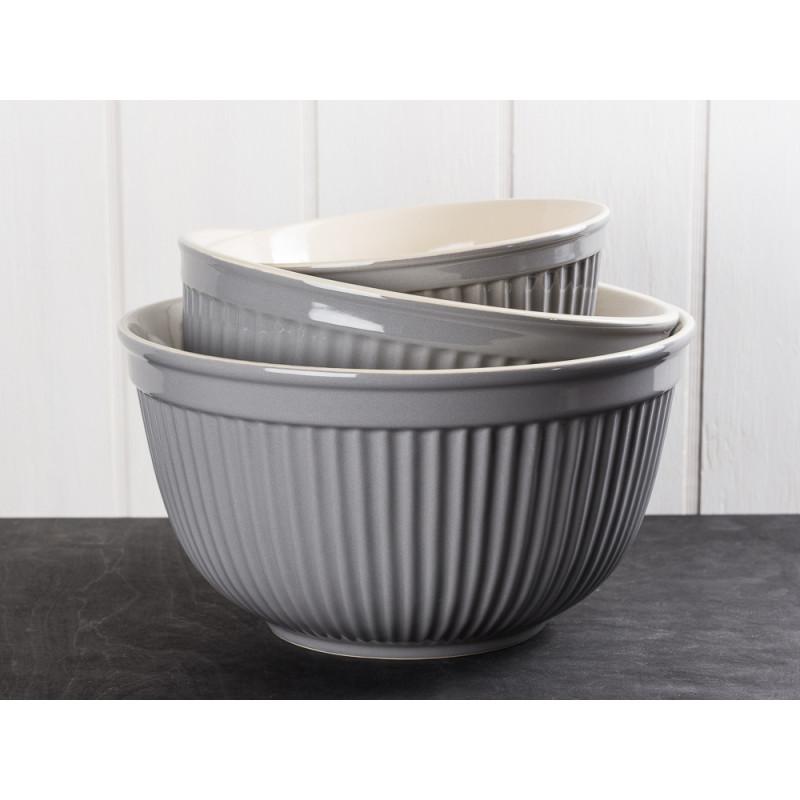 IB Laursen Mynte Schalensatz Granit Grau 3 tlg groß Keramik Geschirr Serie Granite 3 Schüsseln im Set