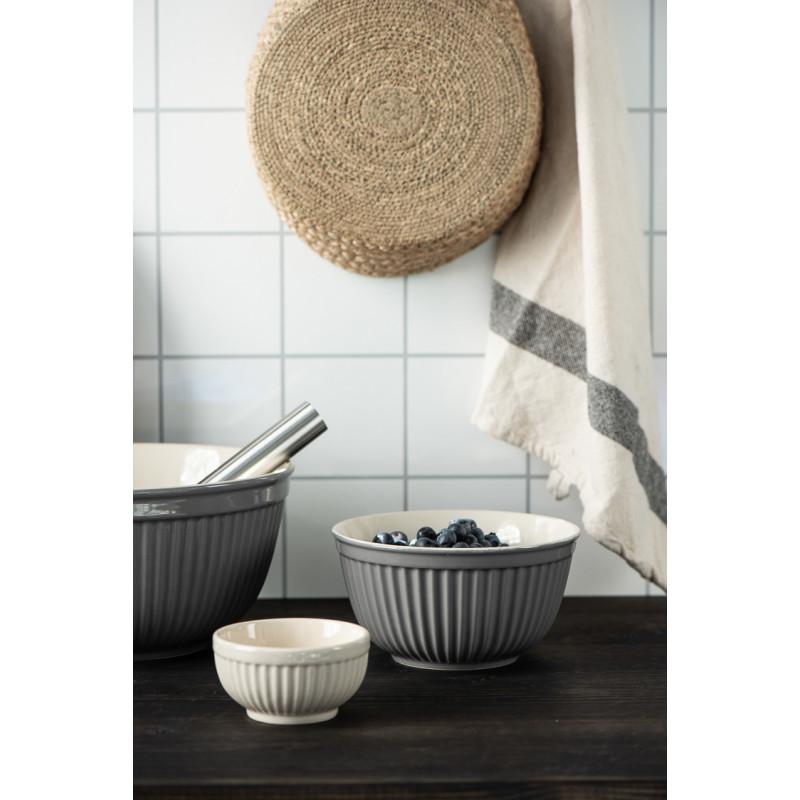 IB Laursen Mynte Schalensatz Granite Grau Keramik Geschirr 3 Schüsseln für Teig und Zutaten