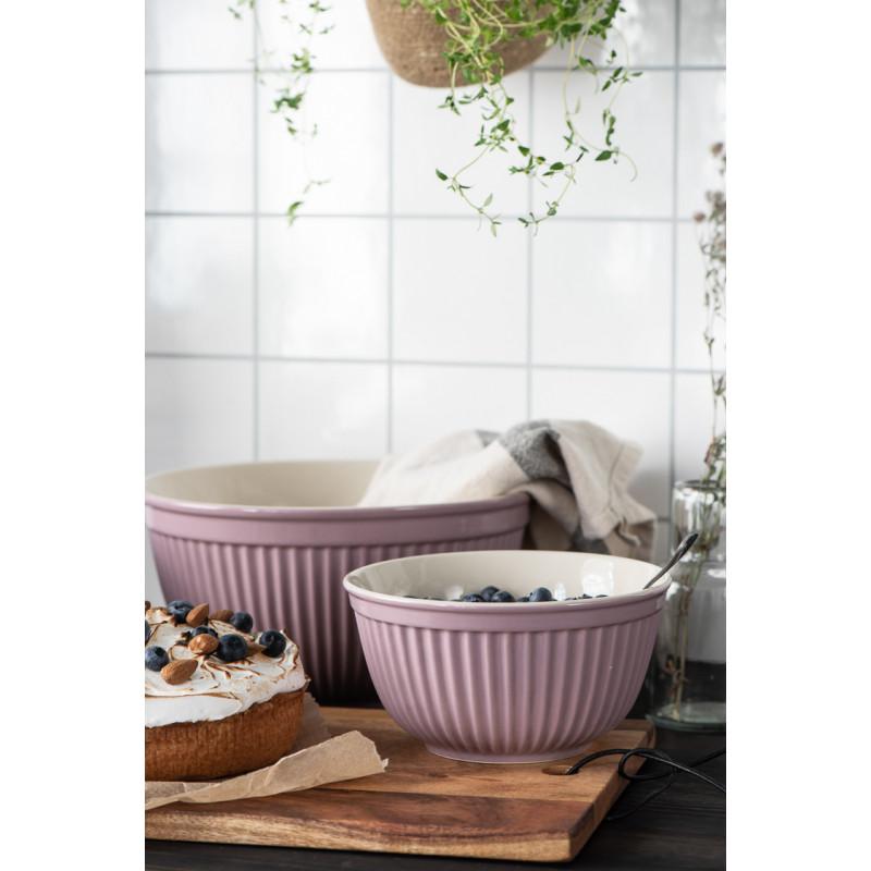 IB Laursen Mynte Schalensatz Lavender Lila Keramik Geschirr 3 Schüsseln mit Kuchen und Früchten
