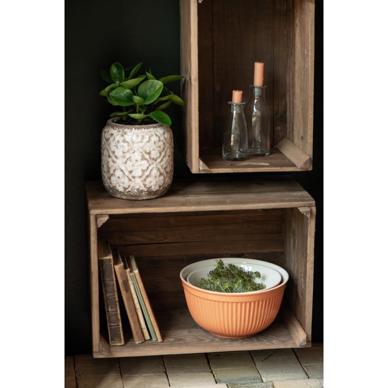 IB Laursen Mynte Schalensatz Orange Keramik Geschirr Pumpkin Spice 3er Set Schüsseln in Apfelkiste