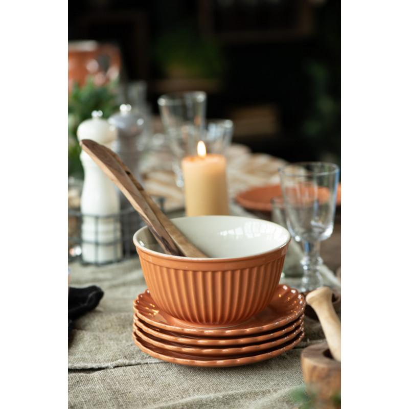 IB Laursen Mynte Schalensatz Orange Keramik Geschirr Pumpkin Spice 3er Set Schüsseln Tellerstapel Tischdeko