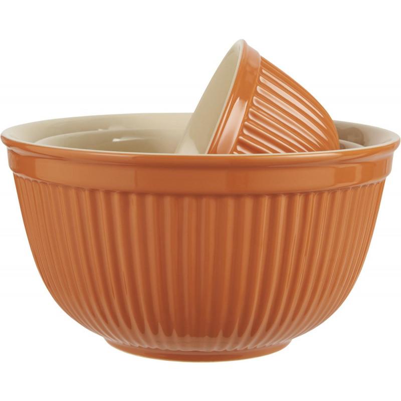 IB Laursen Mynte Schalensatz Orange Keramik Geschirr Pumpkin Spice 3er Set Schüsseln