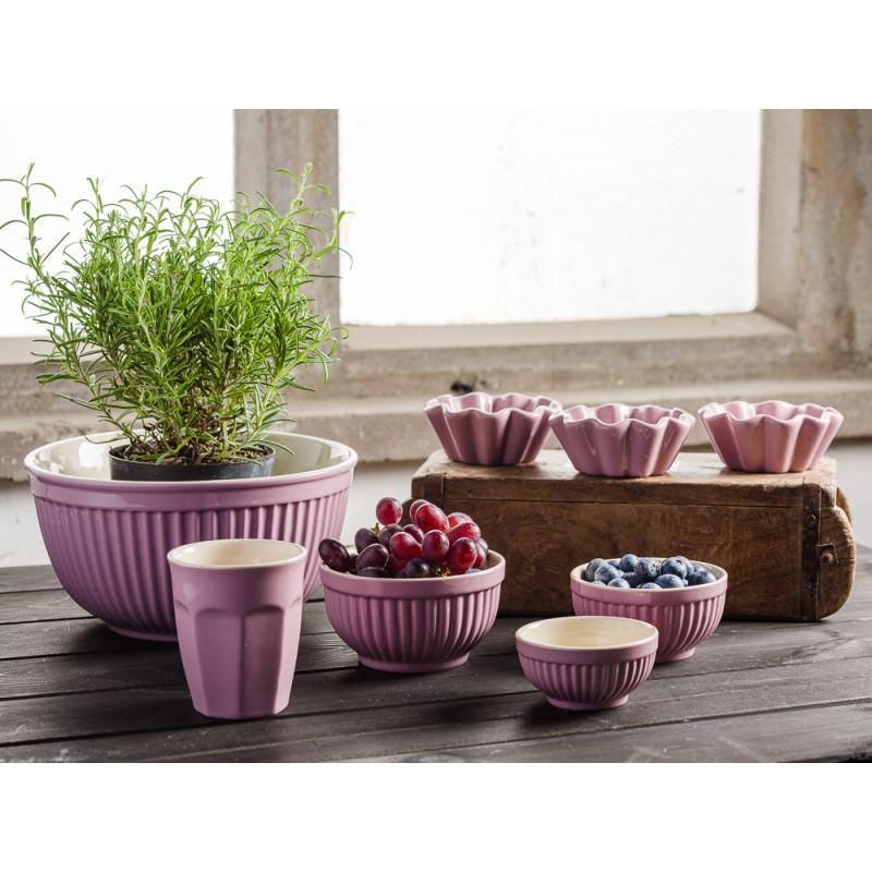 IB Laursen Mynte Shop Geschirr Lavendel Lila Lavender Schalensatz Mini mit Beeren Schalen Set Lattte Becher Muffinform und Unika Holz Ziegelform