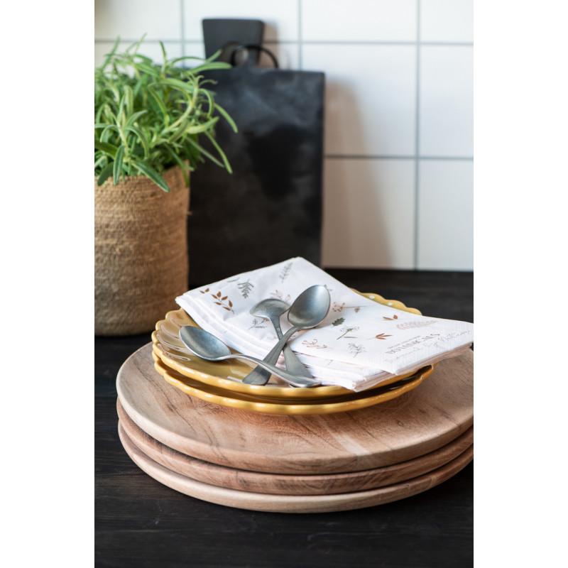 IB Laursen Mynte Teller Mustard Gelb Keramik Geschirr Kuchenteller auf Holzbretter Hygge Küche