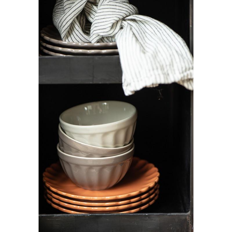 IB Laursen Mynte Teller Orange Keramik Geschirr Pumpkin Spice Kuchenteller Stapel und Schüsseln in weiß
