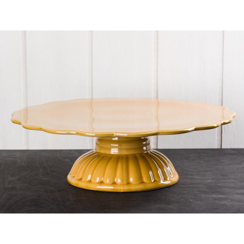 IB Laursen Mynte Tortenplatte Gelb Senfgelb Keramik Geschirr Serie Mustard Kuchenplatte