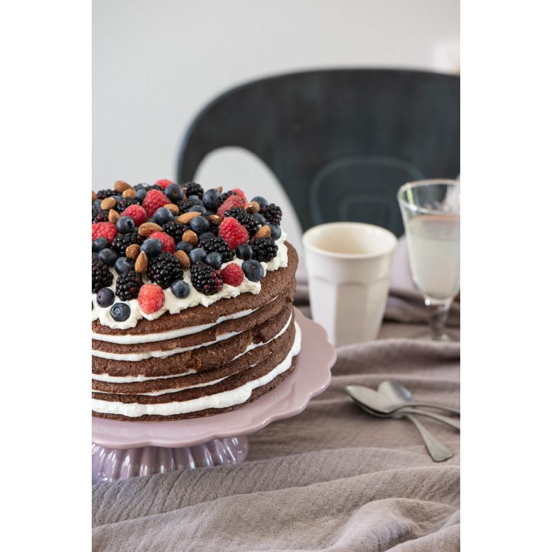 IB Laursen Mynte Tortenplatte Lavender Lila Keramik Geschirr Kuchen mit Beeren und Latte Becher weiß