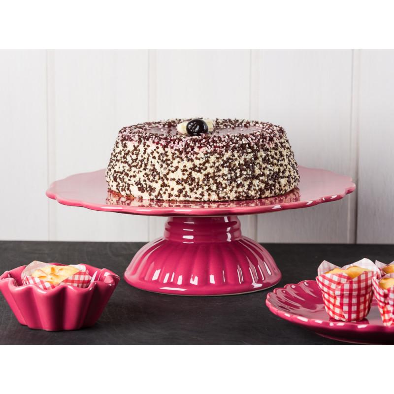 IB Laursen Mynte Tortenplatte mit Sahnetorte Muffinform und Teller mit Cupcakes in Brombeere Keramik Geschirr Serie Blackberry Parfait