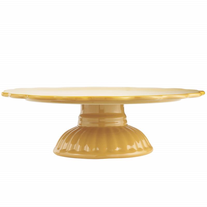 IB Laursen Mynte Tortenplatte Mustard Gelb Keramik Geschirr Servierplatte Senfgelb