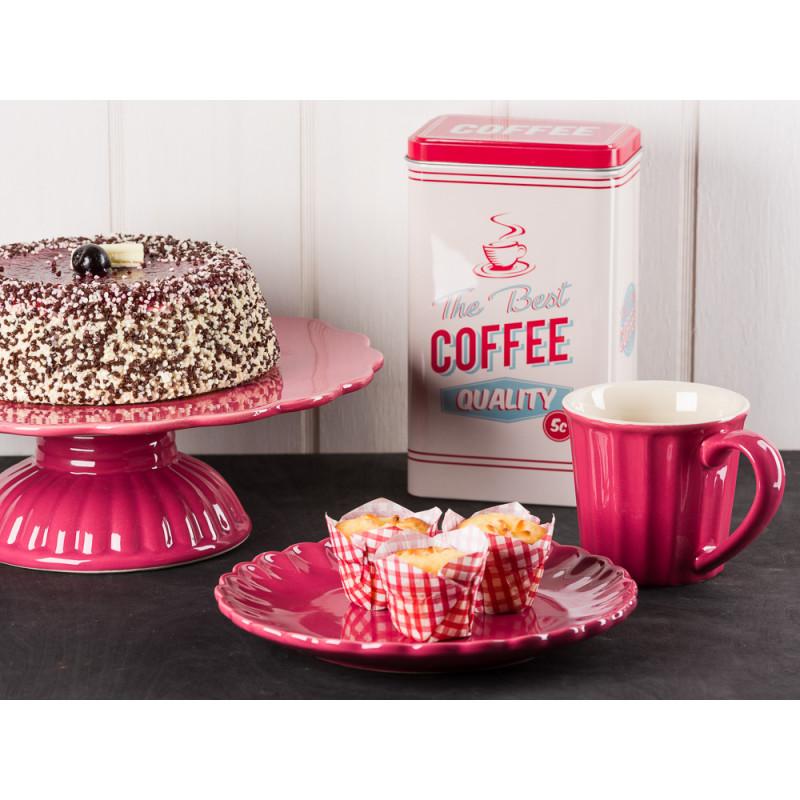 IB Laursen Mynte Tortenplatte Teller und Becher Brombeere Keramik Geschirr Serie Blackberry Parfait Kaffeedose Sahnetorte und Muffins