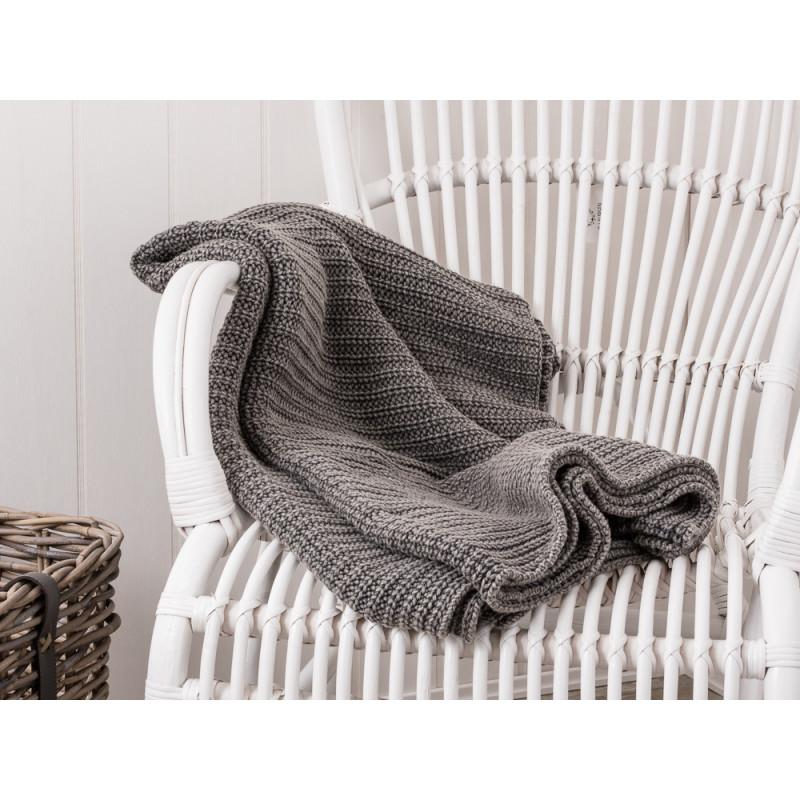IB Laursen Plaid grau gestrickt Wolldecke