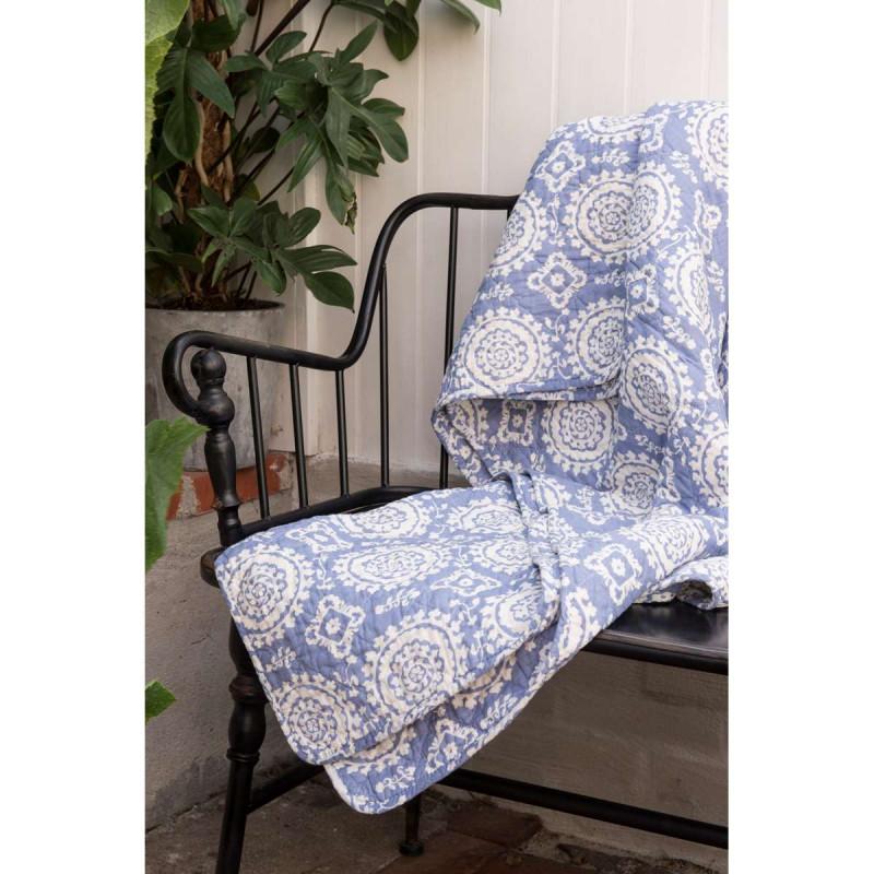 ib laursen quilt blau mit kreismuster tagesdecke bedruckt mit wei en kreisen aus baumwolle. Black Bedroom Furniture Sets. Home Design Ideas