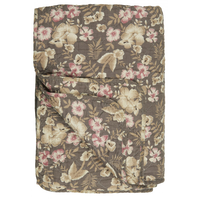 IB Laursen Quilt Braun mit Blumen Muster in Rosa und Beige Tagesdecke 130x180 Model Decke 0734 00