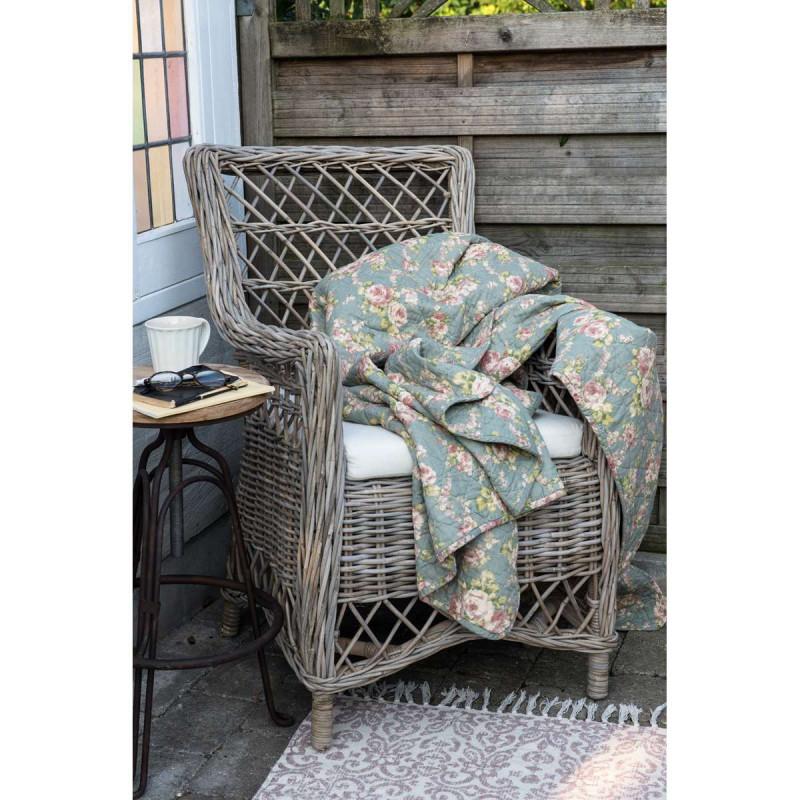 ib laursen quilt gr n mit rosen gr ne tagesdecke im vintage stil bedruckt mit einem blumen. Black Bedroom Furniture Sets. Home Design Ideas