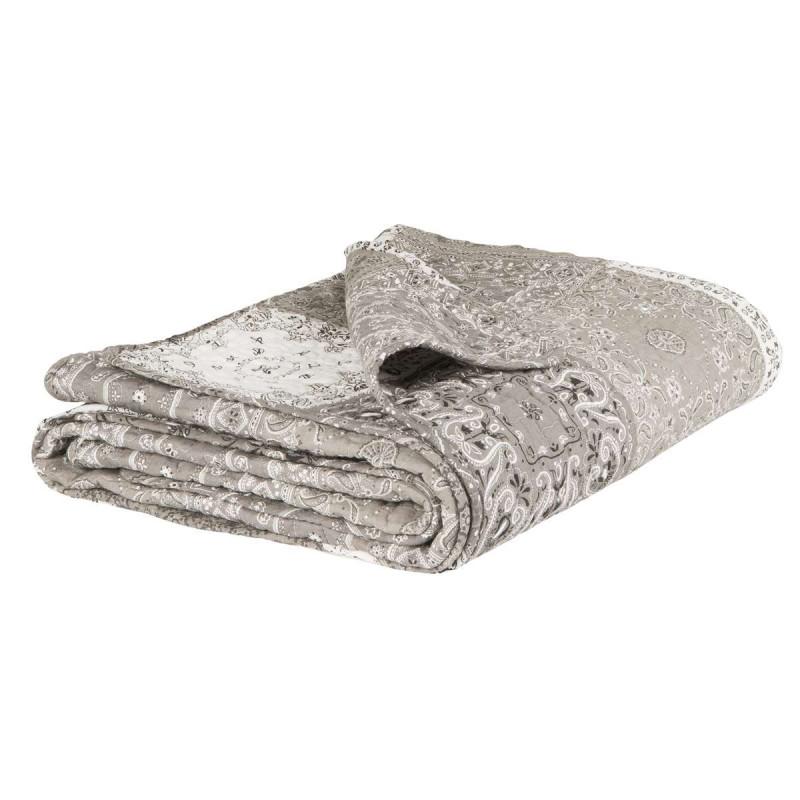 IB Laursen Quilt Patchwork grau weiß gedruckt Tagesdecke 130 x 180 cm groß Kuscheldecke